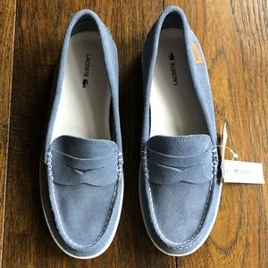 Lacoste Gray blue suede penny loafers slip on shoe